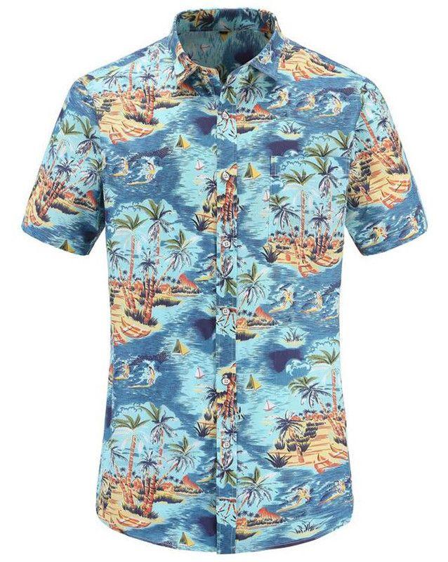 2019 Fashion Blue Summer Slim Tops Men Shirt Beach Hawaiian Men Dress Shirt Short Sleeve Print Men's Casual US Size
