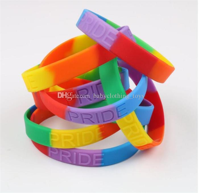 Parti için Unisex Mücevher Gay Pride Silikon Gökkuşağı Bilezik Kauçuk LGBT Bileklik Bilezik Lezbiyen Pride Bilezik Çizgili Bilezikler