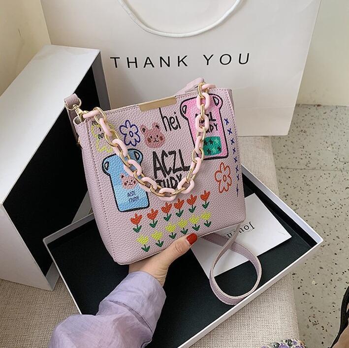 L'alta qualità dei graffiti borse a spalla Donne Crossbody sorelle sacchetti maggiori catena borse delle signore di moda Bag