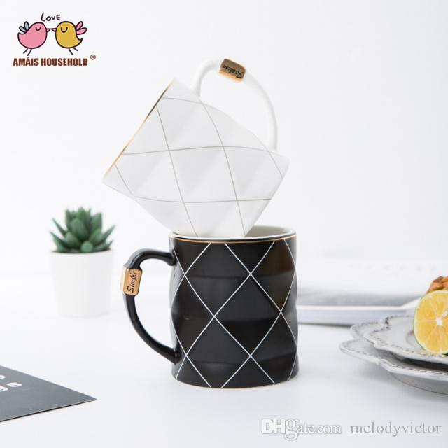 450ml Boreal Europe Style Black and White Tonal Geometry Parttern Ceramic Coffee Mugs Couple Girlfriends Office Cups