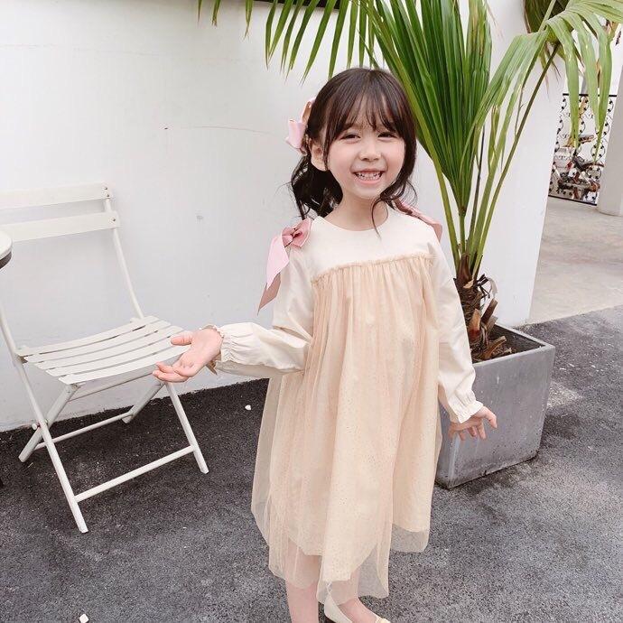 Ragazza Del Bambino Manica Lunga Vestito Dalla Principessa vestito scintillante dorato cuciture arco carino vestito dolce Neonate Vestiti T200417