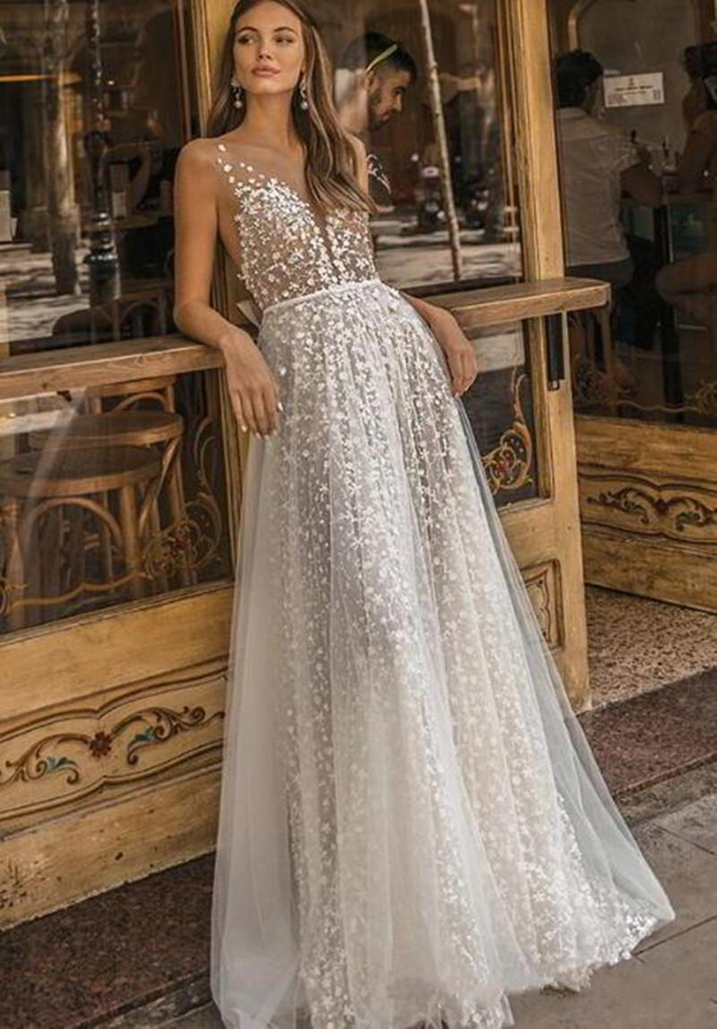 New Muse by Berta Wedding Dresses Sheer Neck Lace Appliqued Bridal Gown A Line Beach Boho Simple See Through Wedding Dress With Bow