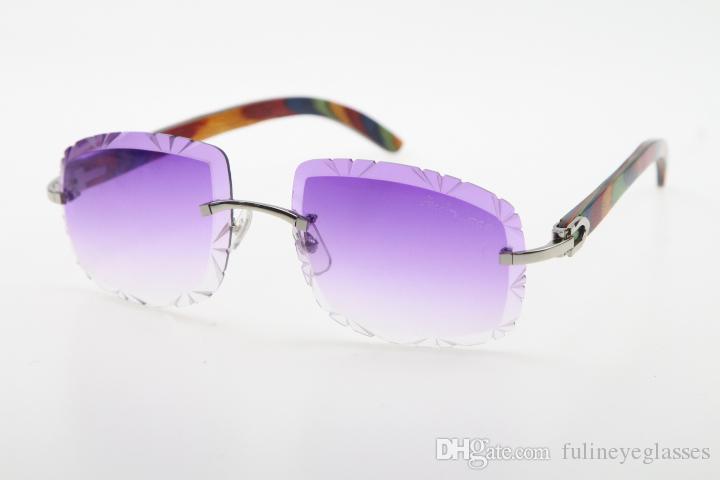 Vente en gros d'étoiles à bois haute High Wood Homme coupé de paon de paon et de lunettes de soleil 3524012-B Vente de lunettes métalliques de lunettes de lunettes Qualité de la qualité QSXCH
