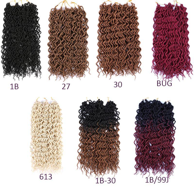 Sintetici a buon mercato dei capelli 18inch 70g Ombre intrecciare i capelli ricci Faux Locs Crochet di estensioni dei capelli morbidi Dreads Crochet Trecce Dreadlocks