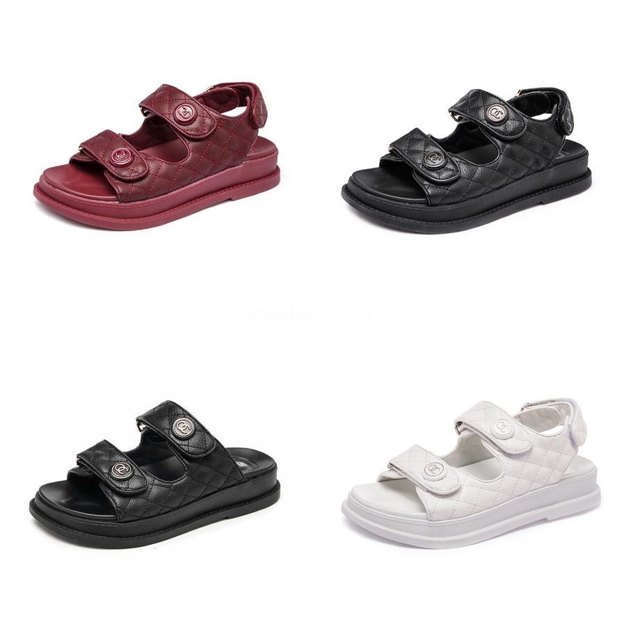 Nero Sandali Fibbia Piattaforma con tacco scarpe piane estate Donna Womens Tacchi Muffins scarpe vestito femminile Beige Med Med # 525