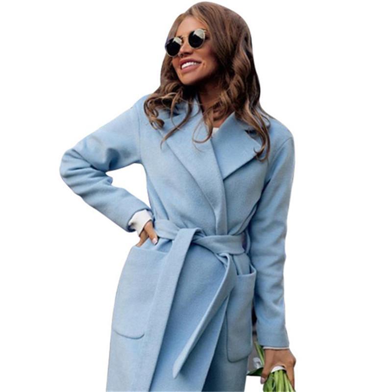 UNIVOS KUNI элегантное длинное женское пальто лацкан 2 кармана подпоясанные куртки сплошной цвет пальто Женская верхняя одежда H652