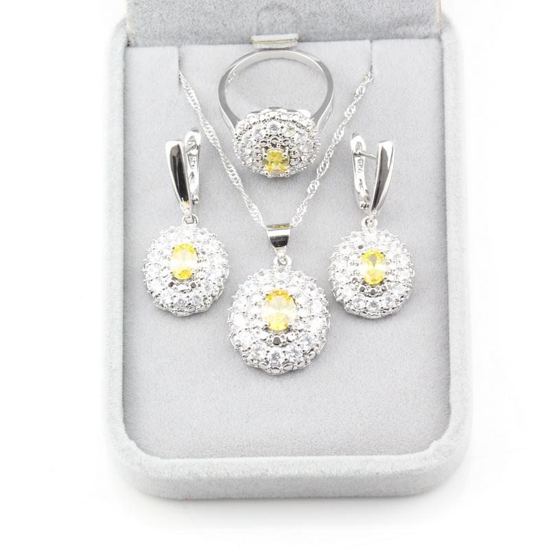 9-Color Shining Fashion Party Accessories Jewelry Sets 925 Silver Yellow Zircon Earrings/Pendant/Necklace/Ring For Women