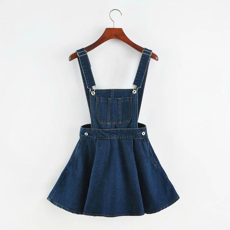 New Summer Fashion Denim Detachable Strap Dress Female, Big Pocket Denim Strap A Word Was Thin Street Dress Female Y19053001