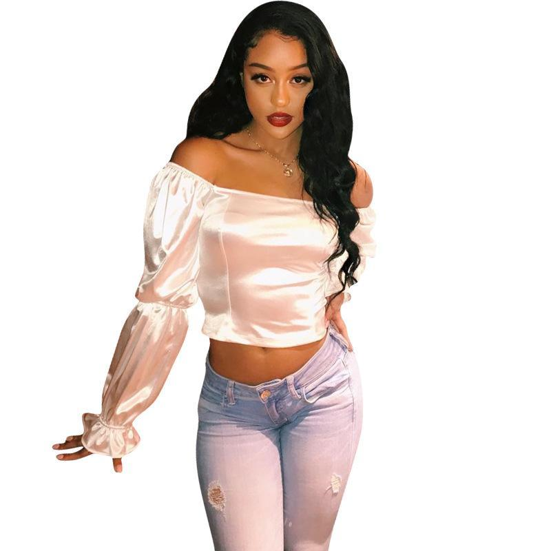 Wantmove 2019 novas mulheres de verão topo sexy cor sólida de simulação de alta densidade de seda ombro lombar senhora do escritório top curto WM716