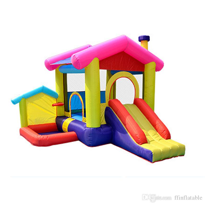 Inflatable Ball Pit Castle Slide Children's Trampoline Bouncing House Small Playground Children Outdoor Play House Household Inflatable Toys