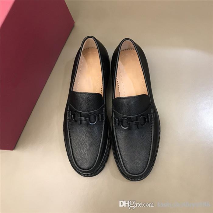 Di fascia alta in pelle scarpe di affari degli uomini casuali lato morbido della pelle bovina signore scarpe comode vestito gusto con tacchi bassi con imballaggio completo