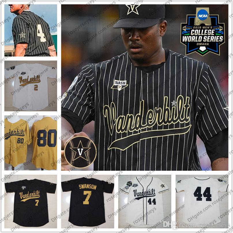 2020 personnalisé Vanderbilt Commodores Baseball Tous Nom Numéro 51 JJ Bleday 19 Stephen Scott Rocker CWS NCAA Hommes or blanc noir Jersey jeunesse