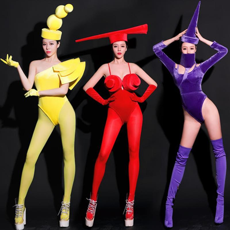 New Nightclub Bar DJ DS Gogo Dance Costumes Headwear One-Piece Costume Sexy Outfits For Women Stage Costumes Rave Clothes SL2843