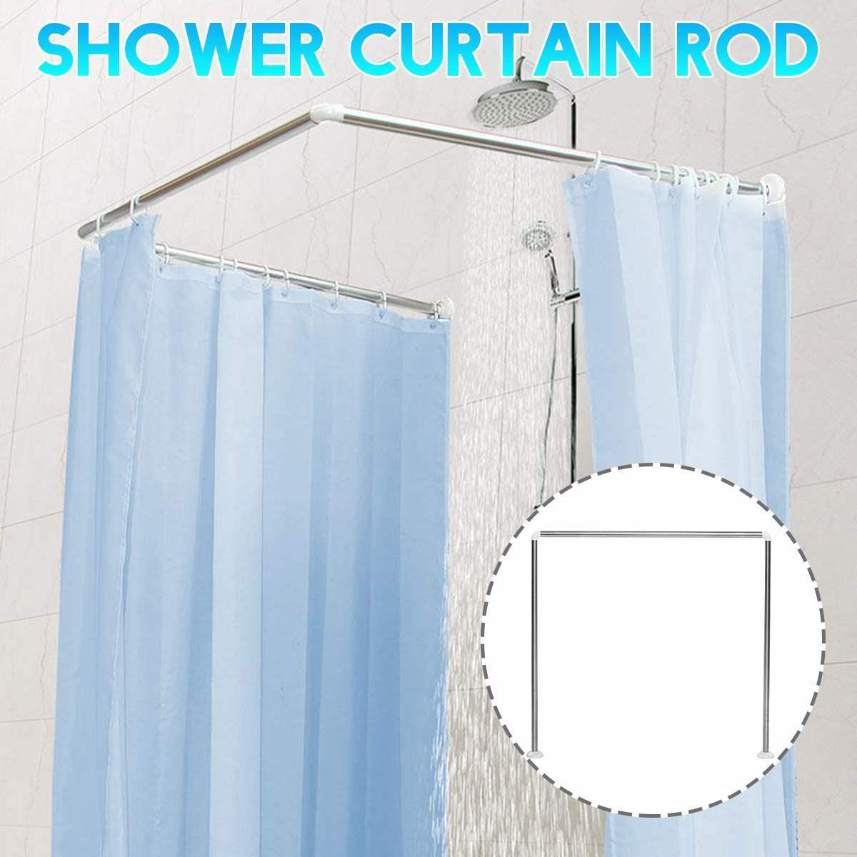 Aço inoxidável / liga de alumínio L / U ajustável Banho Shower Curtain Rods Curvo Rail Rod Banho Bar até 20kg Bearing T200601