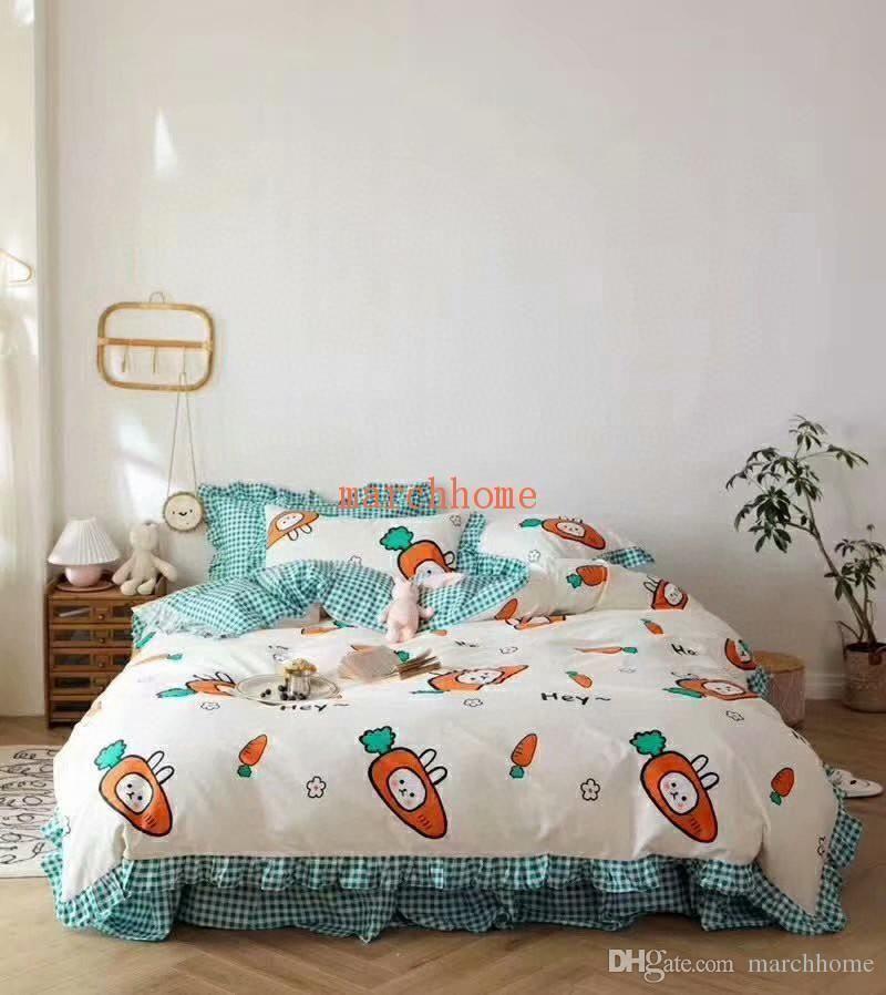 2020 novo de alta qualidade de cama de algodão Set 4pcs impressão Moda pequeno doce fresco dos desenhos animados capa do edredon Four Seasons princesa estilo da cama