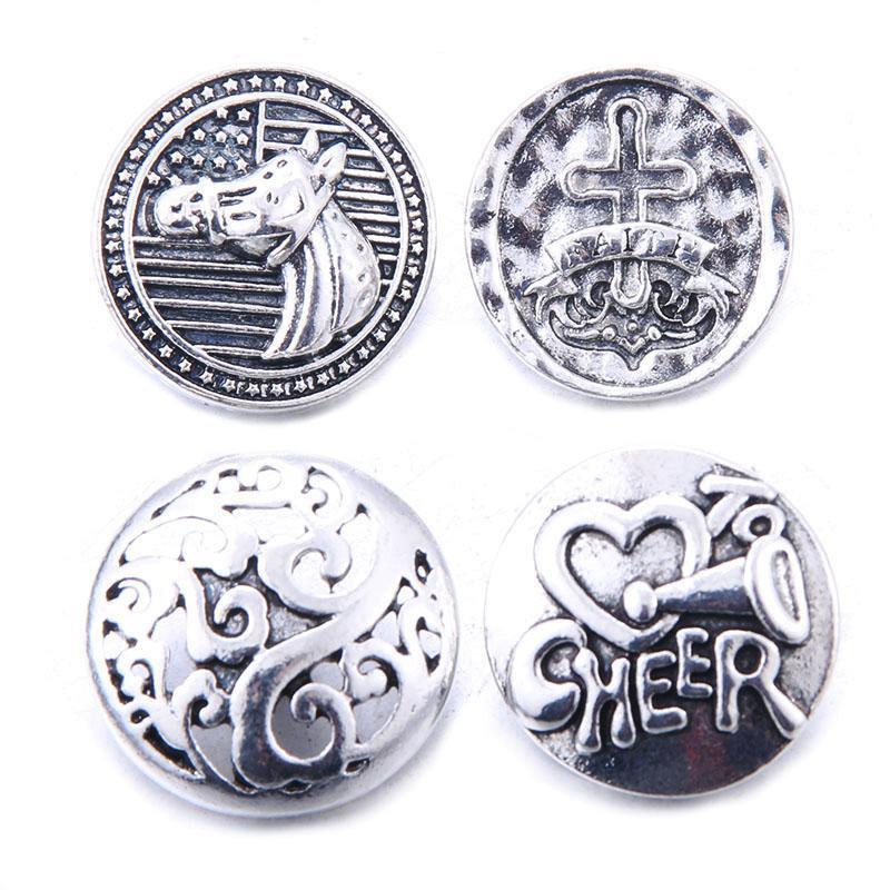 10pcs / lot Nueva Snaps joyería de plata antigua de mezcla de metales 18mm Snap Botones para el botón a presión encantos pulseras collares jengibre