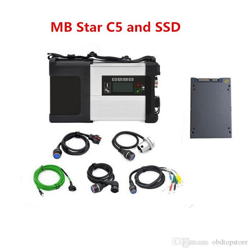 Wifi MB Estrela C5 SD Ligue completa Cabos com software multi-idiomas SSD 512GB velocidade rápida Super star mb c5 Full Set de diagnóstico