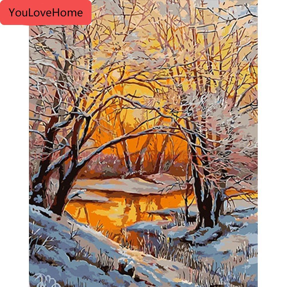 Pintar por números paisaje de invierno dibujo sobre lienzo pintado a mano de la nieve del árbol del arte kits de bricolaje de imagen Regalo Decoración