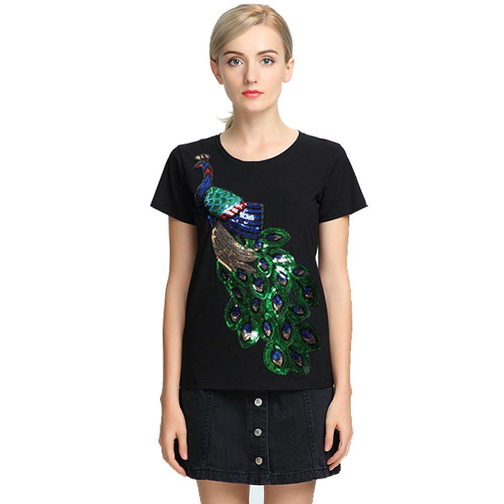BRSR 2020 النبيل الأنيق T قميص المرأة الطاووس مطرزة الترتر تي شيرت أزياء المرأة الجديدة أعلى المحملة القميص Femmer امرأة ساكورا الملابس