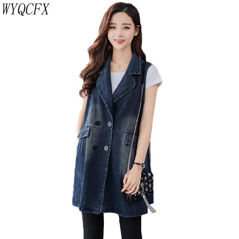 Chaleco Mujeres Jeans sueltos sin mangas del chaleco de la vendimia Denim Primavera Otoño chaqueta de las mujeres de la manera larga capa más el tamaño 3XL informal