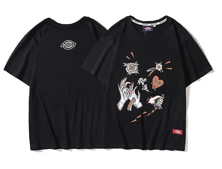 SS2020Loose e confortável de usar de alta qualidade grande buraco T-shirt de algodão T-shirt T-shirt ocasional das mulheres da forma dos homens Europeia Paris