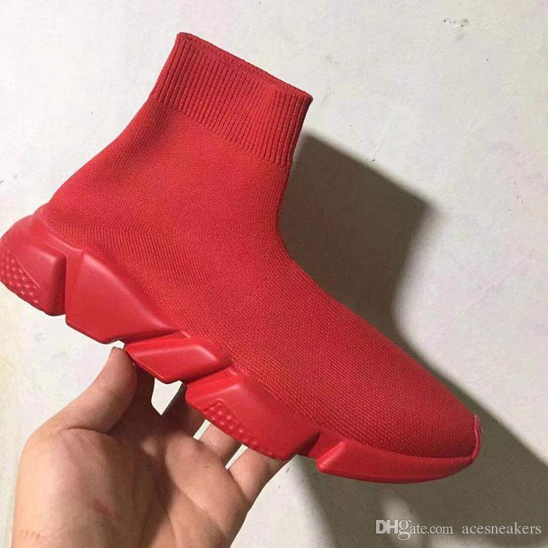Meia Sapatos de Grife New Red Men Paris Tênis De Luxo Com Textura Branca Sola Top Quality Designer Sock Shoes Para As Mulheres Melhor Presente