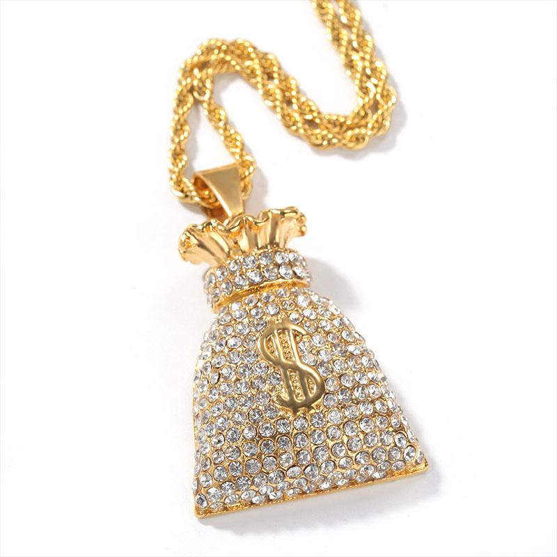 New $ Cubic Zircon Iced Out Chain Purse of dollars Hip Hop Jewelry Pendant Necklace Necklaces For Man Women Gifts