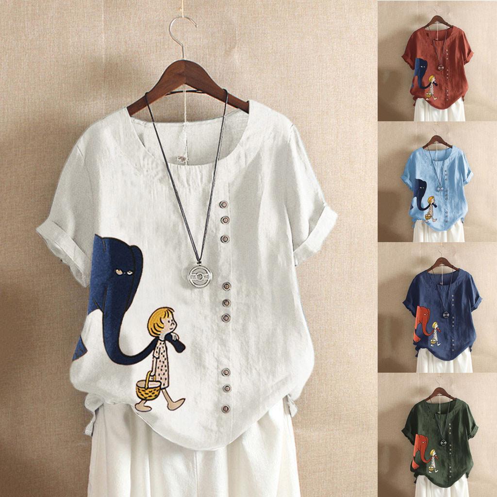 2020 여성 블라우스 캐주얼 플러스 사이즈 O-목 인쇄 느슨한 버튼 튜닉 셔츠 Blusas 탑 ??????? ??????