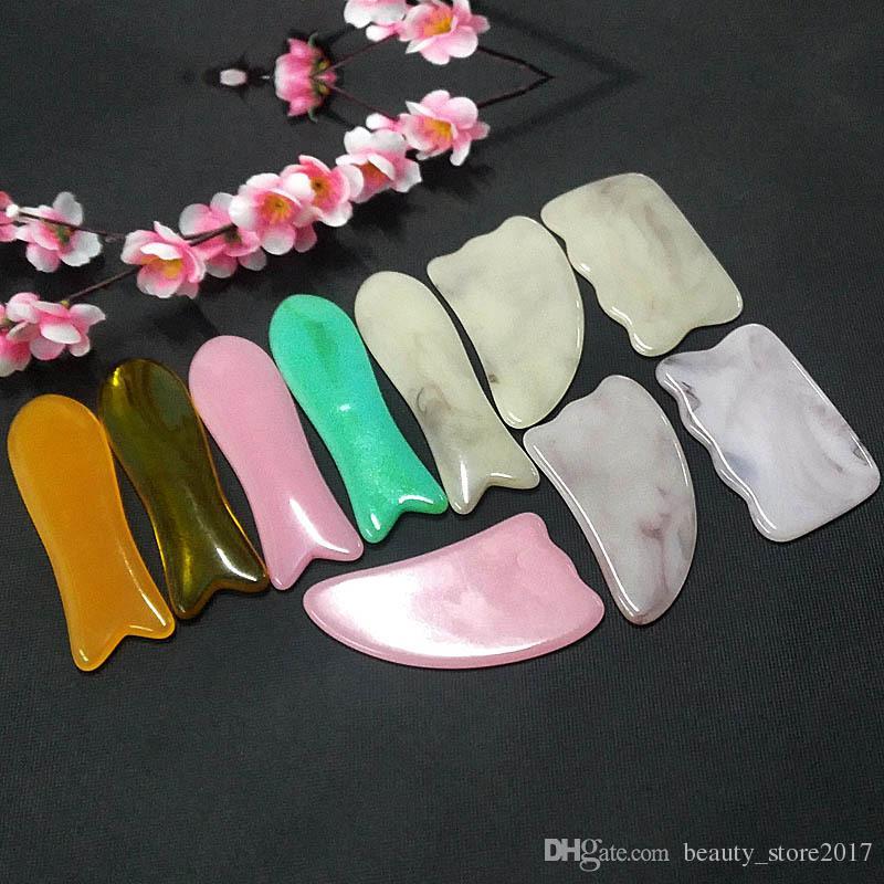 Naturharz Guasha Gua Sha Board Kratzbretter für Gesichtsmassage Beauty Health Care fördern die Durchblutung Fischform