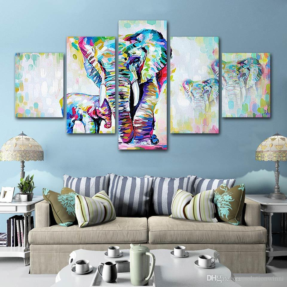 2019 Hd Prints 5 Panels Canvas Wall Art Abstract Elephant Painting For Living Room Animal Posters Home Decoration Giclee Art From Solutionwinni
