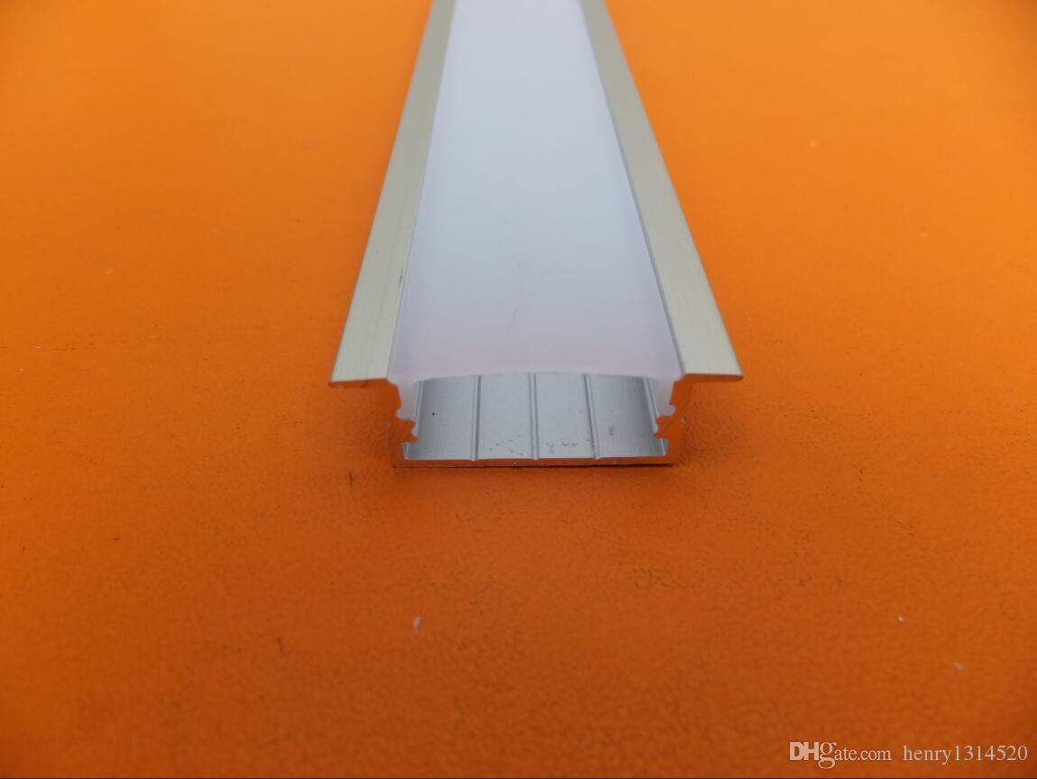 2.5M / PCS 100M / LOT trasporto libero profilato in alluminio per la striscia principale, satinato / coperchio trasparente con raccordi montato mediante viti