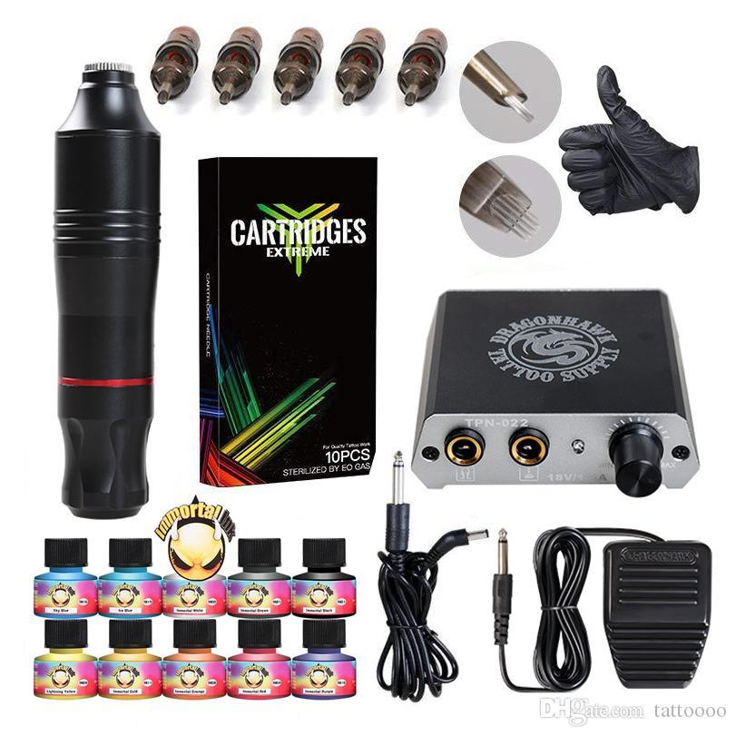 D3017 توريد مبتدئين أدوات الوشم الروتاري القلم بندقية Cartidges إبر البسيطة الطاقة IMMORTAL أحبار الوشم التموين