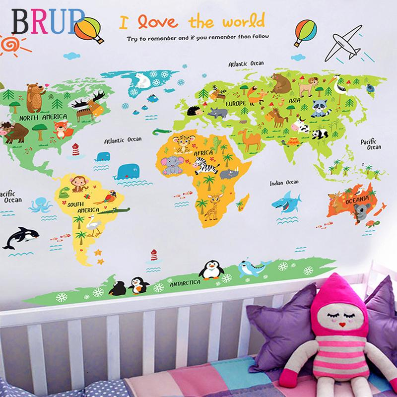 11 Kinds Large World Map Wall Stickers Cartoon Map Home Decor for Kids Room Vinyl DIY Wall Decals Travel Round The World Sticker