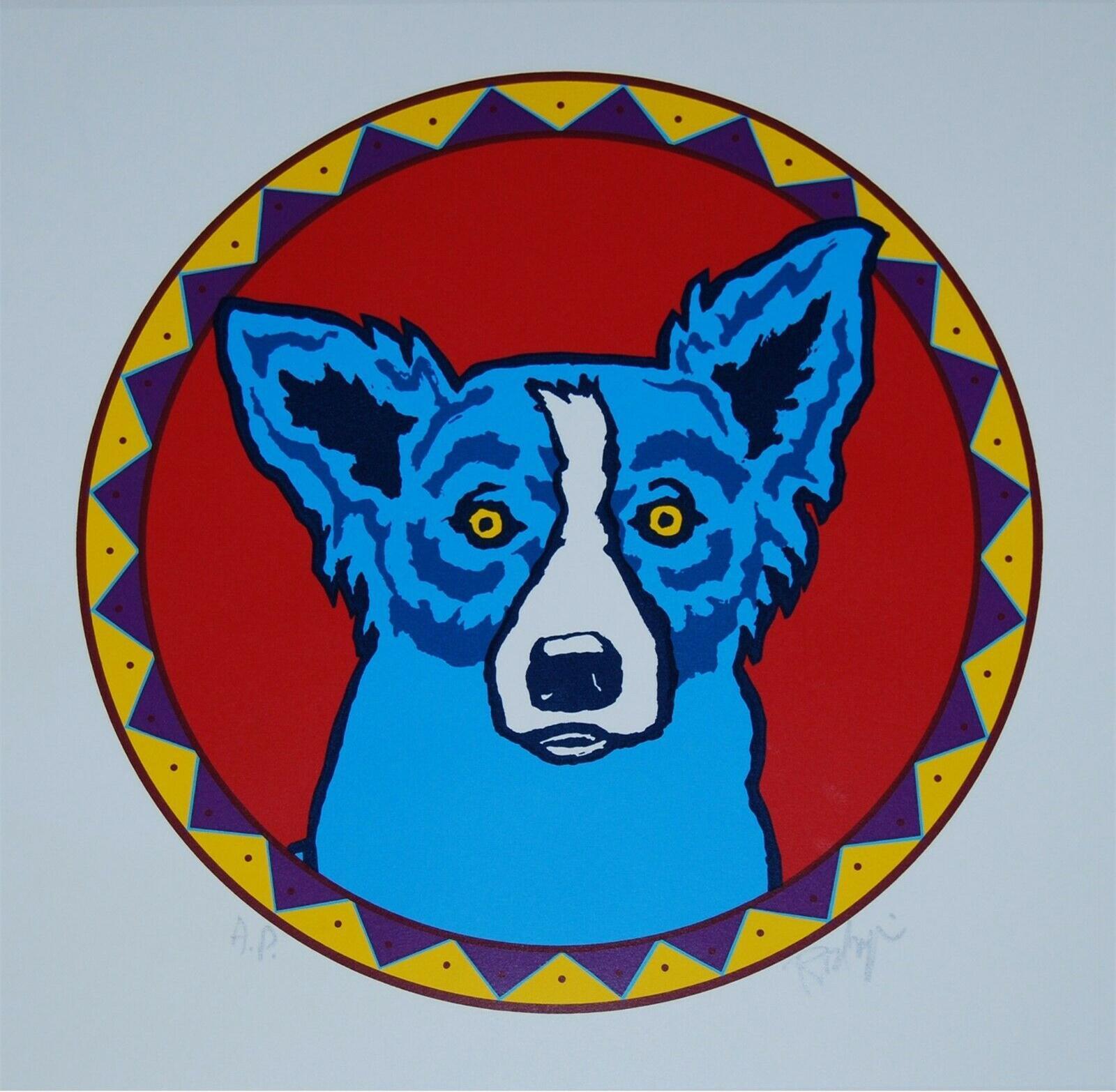 George Rodrigue Blue Dog Grande Capo Bianco Blues Red Drum Home Decor Artigianato / HD Stampa della pittura a olio su tela di canapa di arte della parete Immagini 200115