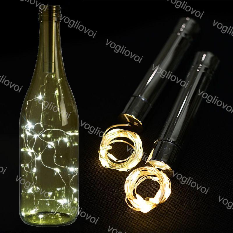 Cordes LED VACANCES Vacances Blanc chaud Silver 10led Lights de vin de liège de bouchon de bouchon de bouteille de bouteille de bouteille de Noël Guirlandes Décor Eub