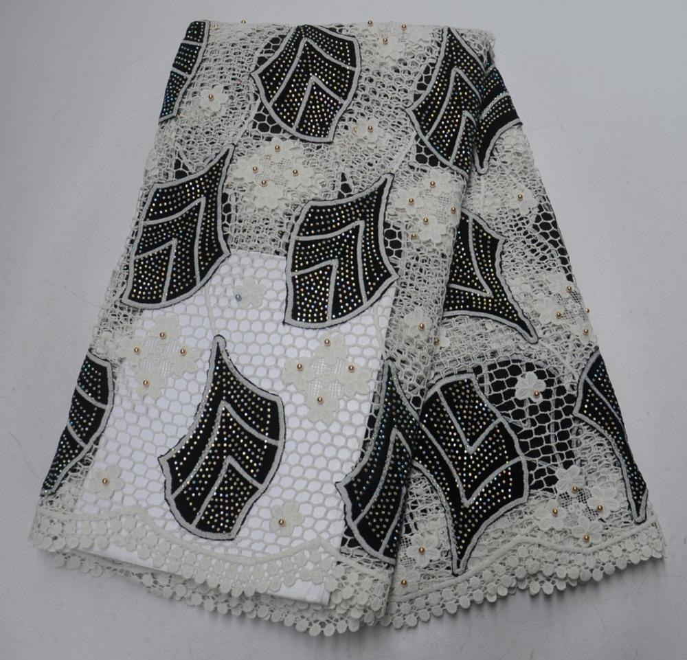 Madison Velvet Embroidery Guipure Cord Lace Fabric High Quality Black Color African Lace Fabrics Latest Nigerian Lace Fabrics