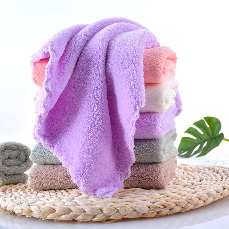10pcs / lot Super Soft Wasseraufnahme Coral Fleece-Platz Volltonfarben Gesicht Handtuch für Erwachsene Kinder-Baby-Reinigungs Gesicht Handtuch