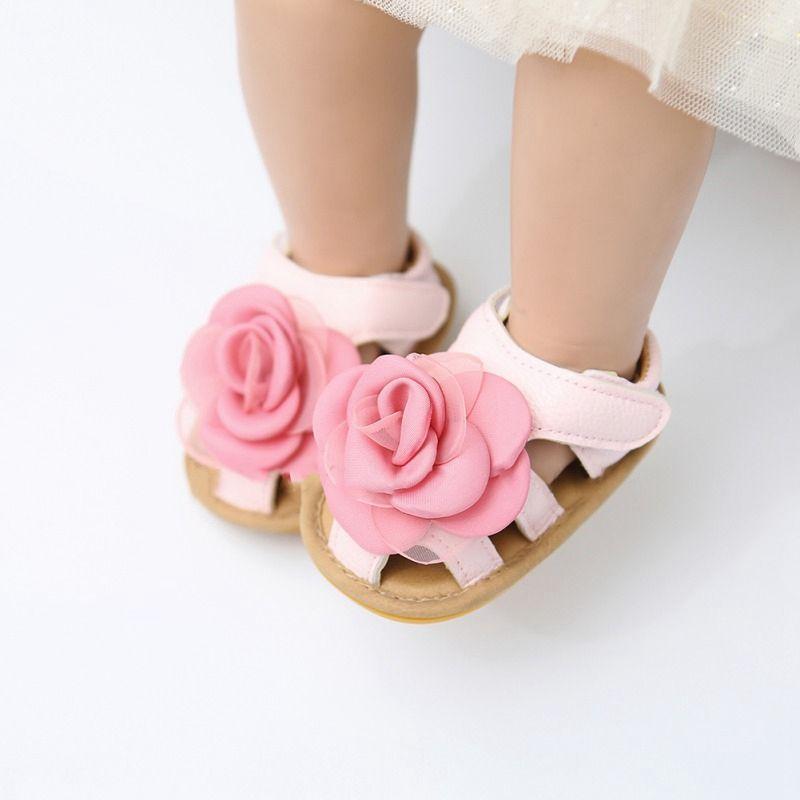 Новорожденный ребенок сандалия девушка принцесса обувь лето дышащего вскользь мальчик сандалия Младенческой малышей малыши Мягкая Подошва Покрытие обувь 0-18M