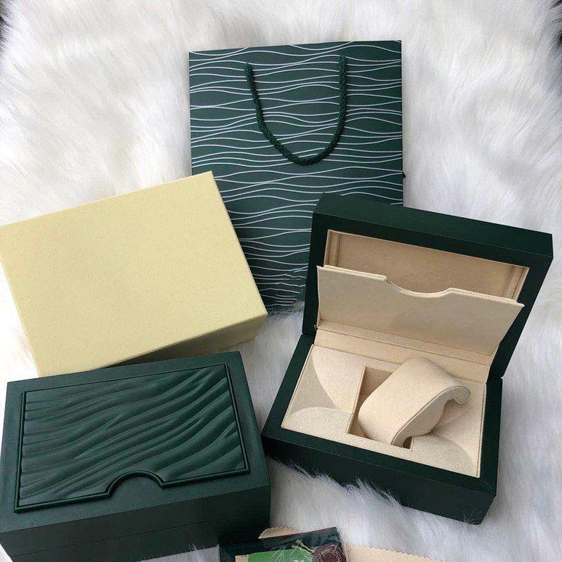 Mens di lusso per ROLEX Osservare legno scatola originale interno esterno della donna Orologi Scatole Paper Gift Bag Uomo da polso box movimento autoamtic