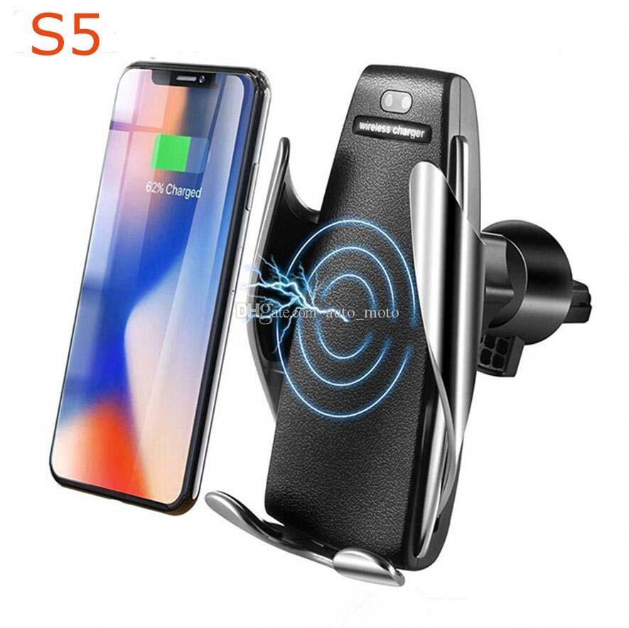 S5 CARGADOR DE COCHE INALÁMBRICO 10W Teléfono automático de carga rápida de 360 grados Rotación en coche para iPhone Huawei Samsung Smart Phone