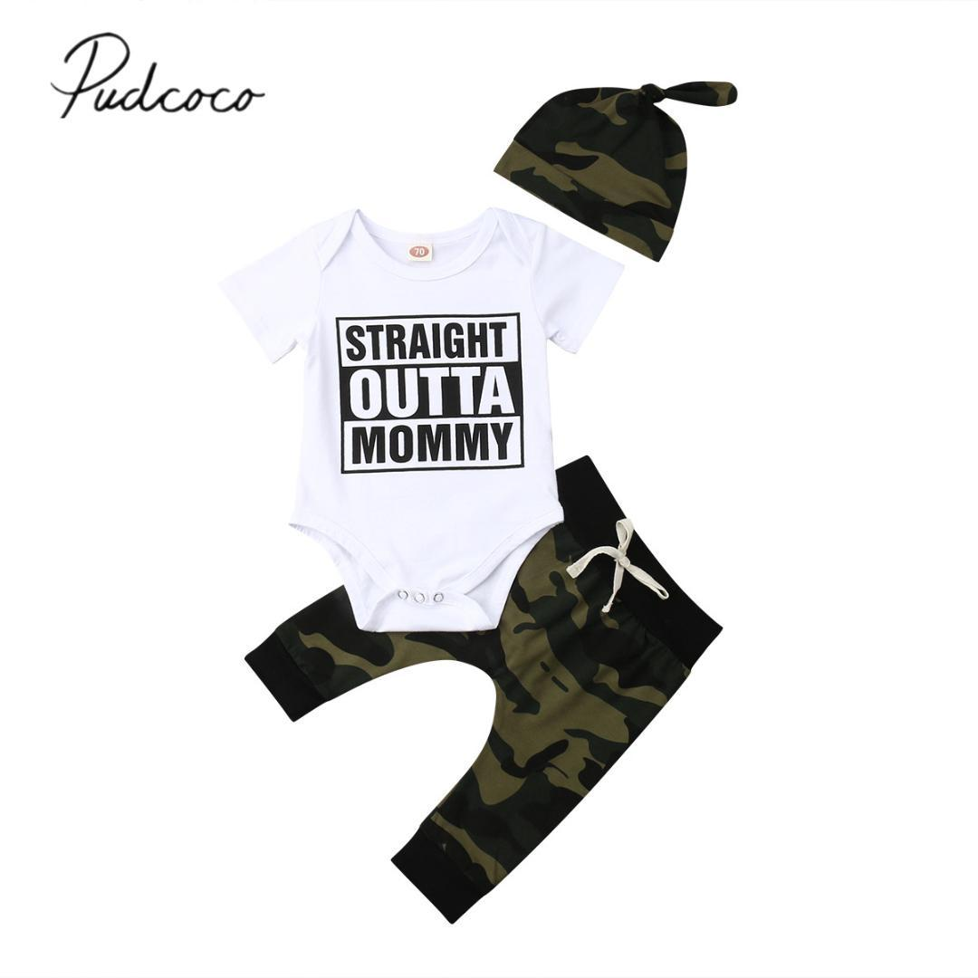 2019 a estrenar recién nacido bebé niño Camo ropa manga corta algodón mono Tops Camo Pant sombrero 3 piezas ropa de verano para niños