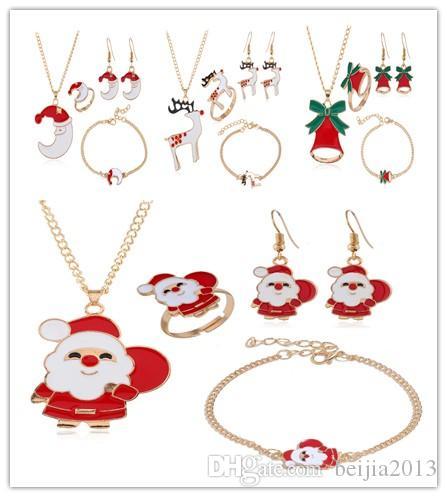 سوار، أقراط قلادة مجوهرات عيد الميلاد مجموعة شجرة سانتا كلوز الأيائل القمر جرس سلسلة الأزياء سوار الجسم قلادة إرسال أصدقاء هدايا
