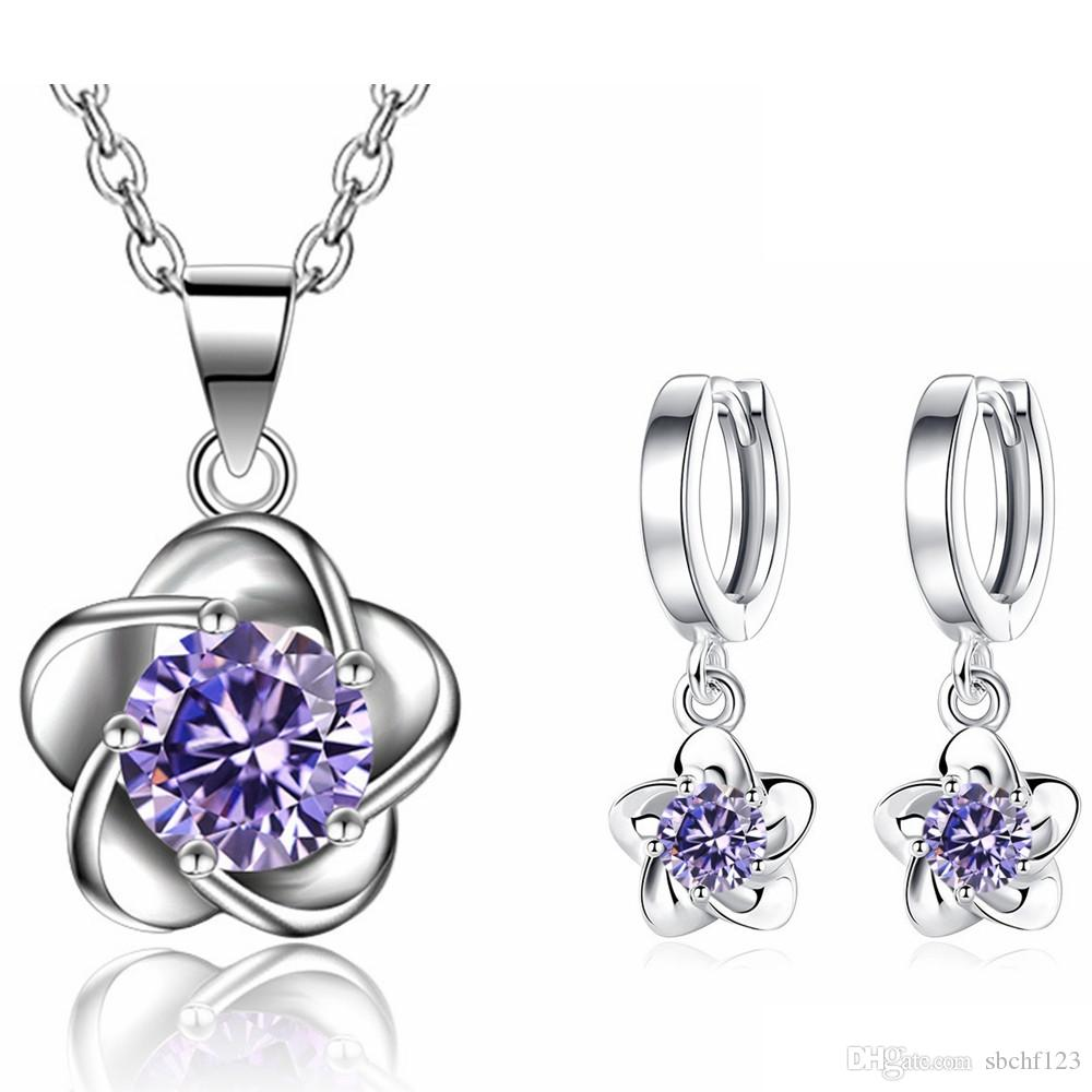 Female Flower Jewelry Sets Wedding Bride Party long Earrings Necklace Pendants Cubic Zirconia Accessories White Purple