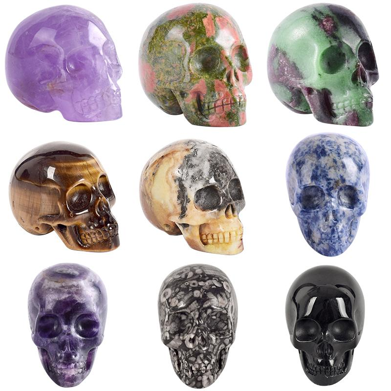 2 Inch Handmade Natural Stone Skull Figurine Crystal Carved Statue Realistic Feng Shui Healing Home Ornament Art Collectible Q190426