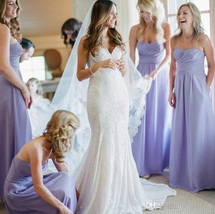 Дешево Лавандовые платья подружки невесты 2019 шифон милая дорогая драпированная Ruched формальная горничная честь платья для свадебных вечерних вечеринок