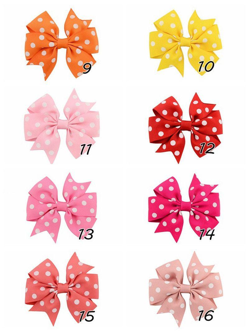 Клипы Baby Girl ленты луки волос Dot Bowknot Шпильки Дети Лук Заколки Hairclip Девушки Шпилька для волос Аксессуары Multicolor