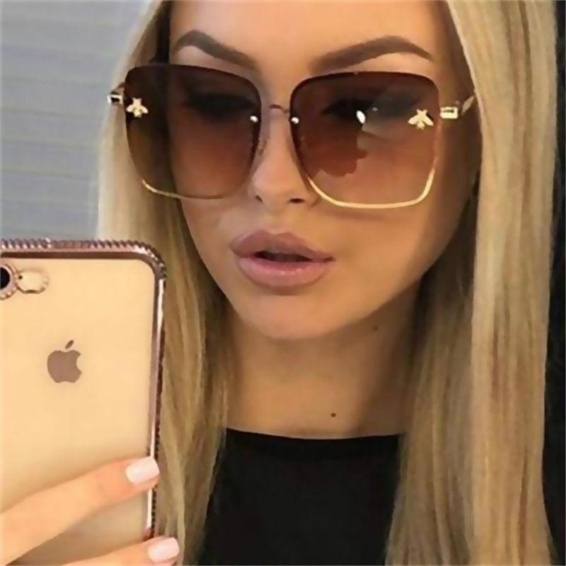 2019 Yeni Moda Lady Oversize Rimless Kare Arı Güneş Kadınlar Erkekler Küçük Arı Gözlük Gradyan Güneş Gözlükleri Kadın UV400