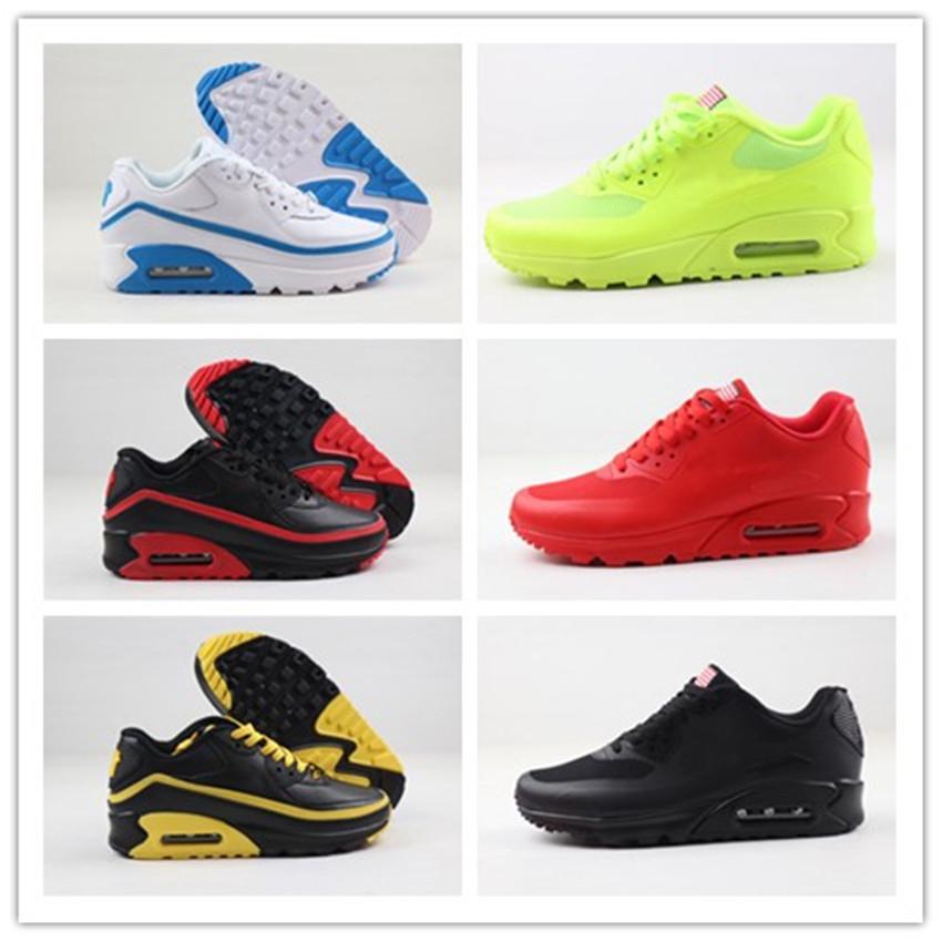 2020 Cheap Sale Hommes Femmes 90 HYP PRM QS Chaussures de course Designer Independence Day Zapatillas USA Drapeau Sport Sneakers Taille 36-46