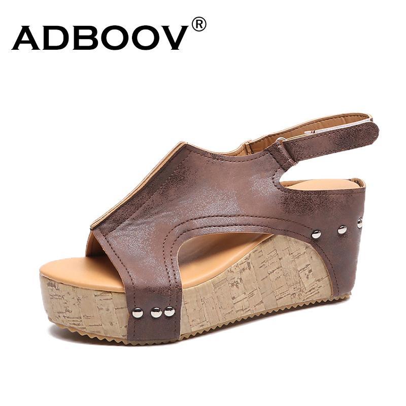 Adboov Cuoio Dell'unità di elaborazione Sandali Con Zeppa Delle Donne Più Il Formato 42 43 Sandali Della Piattaforma di Estate pantofola scarpe