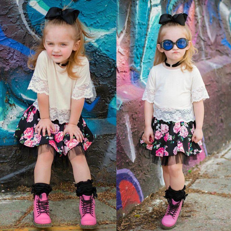 2PCS Bambino Bambini Set merletto del bambino di vestiti della ragazza delle parti superiori della maglietta + tutu Dress attrezzature di estate dei bambini del vestito Set